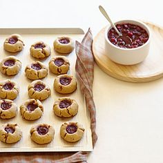 Cranberry Thumbprints: Instead of using jam, fill these bite-sized cookies with your extra Thanksgiving cranberry sauce.