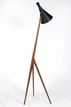 Teak Tripod Floor Lamp by Luxus