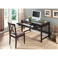 Idabel Dark Brown Wood Modern Desk