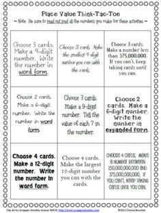 Here's a packet with place value mats for numbers to the billions, number cards, a Think-Tac-Toe choice board, and a set of I Can cards for 6-, 9-, and 12-digit numbers.