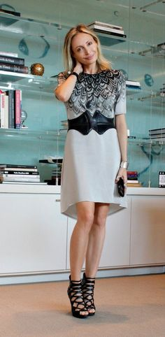 Print perfect - an elegant shift dress paired with a bold belt.   - Lubov Azria