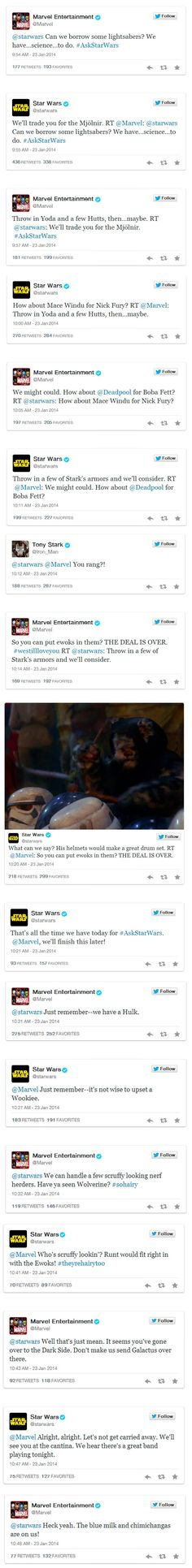 Star Wars and Marvel Just Had the Geekiest Twitter Conversation So Far This Year - I see this as a response to what Joss started with wanting to trade the Ewok song for Thor. THIS IS PERFECT!!