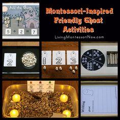 Montessori-inspired friendly ghost activities using free printables plus list of Montessori-inspired Halloween posts