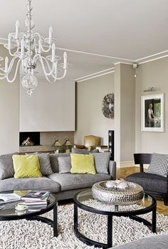 living room - love the gray and yellow