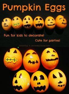 Pumpkin eggs! Fun for kids to decorate and so stinkin cute!