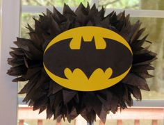 Superhero tissue paper pompom kit by TheShowerPlanner on Etsy, $9.99