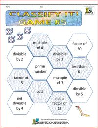 Classify It Game 5. A 4th grade  math game involving matching the rolls on a dice to the properties of numbers.