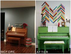 Painted piano.  How to Paint a piano (and make it look awesome!) from East Coast Creative!
