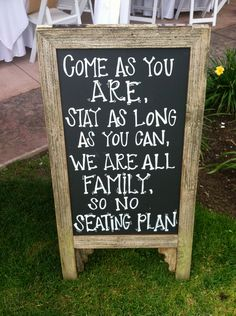 This is a cute idea. who has time to make a seating chart anyway :) -------SET OF TWO: Double-Sided A-Board Chalkboard Sign for  Bistro, Cafe, Wedding Reception, Seating Chart, Menu Specials, Coffee Bar, Boutique,. $175.00, via Etsy.