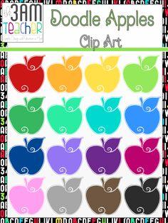 NEW!! Colorful Doodle Apples Clip Art Set!! $3
