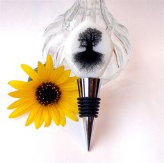 Wine Bottle Stopper - Black and White  Fused Glass Bottle by GreenhouseGlassworks, $25.00 #glass #gift #wine