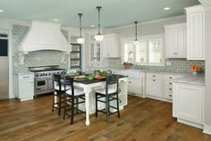 White cabinets, gray wall, BLUE CEILING! cool