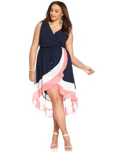 Love Squared Plus Size Sleeveless Colorblocked Dress