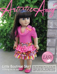 Little Boutique Skirt: PDF Sewing Pattern for 18 inch doll (like American Girl Doll)