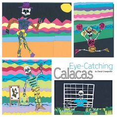 Elementary students depict skeletons in a whimsical, not scary, manner. From our October 2012 issue. art classroom, art project, elementarylevel art, art idea, octob 2012, middl school, 2012 issu, school idea, elementari student