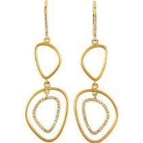 Sterling Silver & 14K Yellow Drop Dangle Earrings Pair 3/8 Cttw Diamond Earrings 14k yellow, dangl earring, diamonds, i1 diamond, diamond earrings, dangle earrings, drop dangl, pair 38, cttw