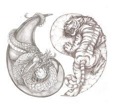 Awesome tiger and dragon yin yang tattoo idea