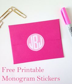 FREE printable monogram stickers - in 12 different colors - use them on envelopes, gifts etc