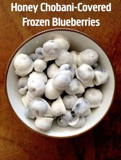 Honey Chobani-Covered Frozen Blueberries