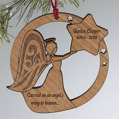 Memorial Angel Personalized Wood Ornament