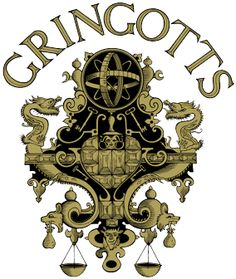 gringotts logo.  i'm going to give them little bags of gold coins from their Gringotts accounts, then they'll get to spend it at Honeyduke's.  :)  Harry Potter Party fun. harri potter, potter parti, book parti, scavenger hunts, party bags, halloween labels, gringott, harry potter, gold coins