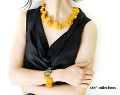 Mustard Necklace. Felt Necklace. Modular by StefCollections, $39.99