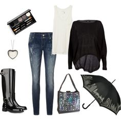 #fashion outfit for a casual rainy day photo shoot~I would add a pop of color(red) maybe in a bold ring, nails, or scarf just to pop in the pictures
