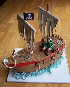 Pirate ship cake (might just do sails in fondant)