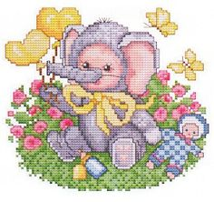 Elephant Baby Cross Stitch Pattern