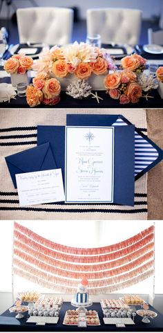 Beautiful food table with clothespin backdrop; #navy #peach #beach #wedding