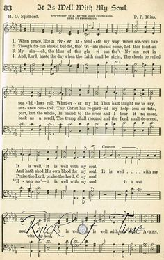 Digital Download  Hymn Page - IT IS WELL by KnickofTime
