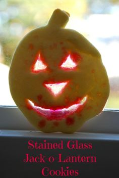 Stained Glass Jack-o-Lantern Cookies.  Perfect for Halloween!