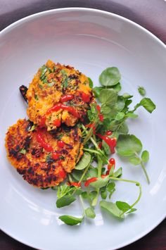 Sweet Potato Pancakes with Spinach