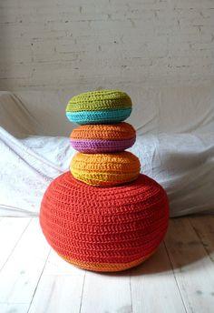 lovely crochet pouf
