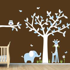 Baby Blue Nursery Wall Art, Jungle Wall Decals, Boy Wall Decals, Tree Decals (Baby Blue) via Etsy