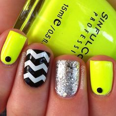 NAIL Recipe: Neon Green Nails w/1 Black Dot @ the cuticle of index n ring fingers,1 Black & White www. Accented Nail & 1 Silver GLITTER Accented Nail...