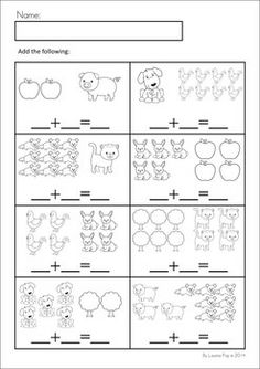 MEGA Math & Literacy Worksheets & Activities - Down on the Farm. 100 Pages in total!! A page from the unit: Addition with pictures (to 10).