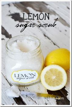 body scrubs, homemad lemon, lemon sugar, sugarscrub, diy christma