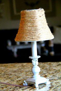 hous decor, lamp shades redo, lamp revamp, crafti, shade idea, lampshad diy, craft idea, twine diy livingroom, thing