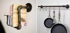 pipe pot rack, kitchen pot rack DIY, industrial bookshelf, interesting book storage, funky pot rack