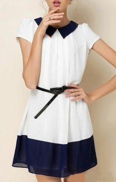 Navy and White….Chiffon Dress
