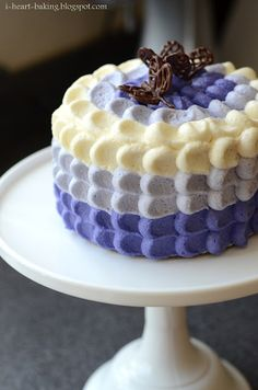 purple ombre petal cake with chocolate butterflies