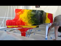 """Melissa AYR creating the under layer of the """"Live Energy"""" Painting onto a Baby Grand Piano~ Sold through Herritage Auction house in Dallas Texas 2010"""