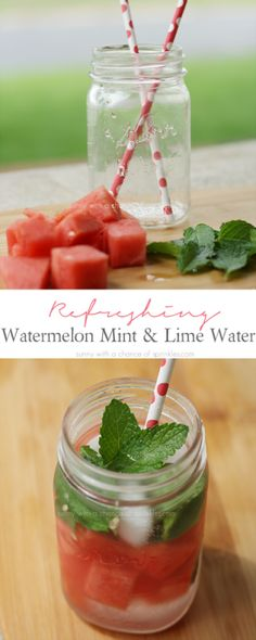 Refreshing Watermelon, Mint + Lime Water