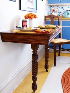 Retrofit a table to save space in your eating area. More DIY ideas: http://www.bhg.com/decorating/makeovers/furniture/furniture-projects/?socsrc=bhgpin02042014retrofitatable&page=13