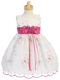 Fuchsia Embroidered Organza Butterfly Dress