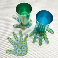 Handprint coasters. This looks like a great idea for family members for Christmas!!