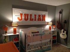 music theme/orange/teal/grey/white nursery