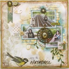 Gabrielle Pollacco designed this beautiful layout using Trail Mix and so many fun techniques. #BoBunny, #GabriellePollacco