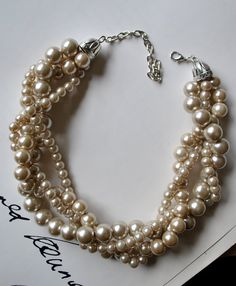 Champagne Chunky Pearl4 Strand Twisted by SarahWhiteJewelry $38